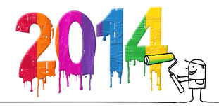 Freshly painted 2014. Freshly painted - hand drawn cartoon characters Royalty Free Stock Image