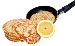 Freshly Pancakes And Frying Pan Stock Images