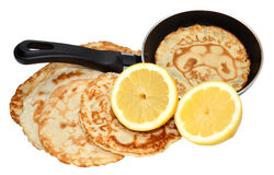 Freshly Pancakes And Frying Pan Royalty Free Stock Image