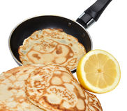 Freshly Pancakes And Frying Pan Royalty Free Stock Photos