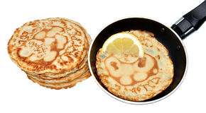 Freshly Pancakes And Frying Pan Royalty Free Stock Photography