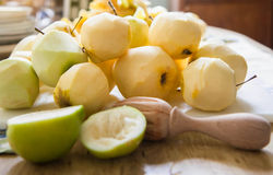 Freshly peeled apples Stock Photo