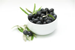 Freshly picked black olives in a bowl Stock Images