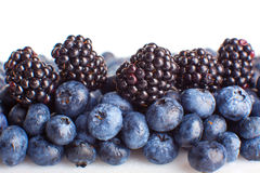 Freshly picked blueberries and blackberries close-up Stock Photo