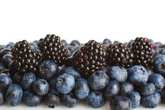 Freshly picked blueberries and blackberries close-up Royalty Free Stock Photo