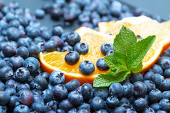 Freshly picked blueberries with orange Stock Photos