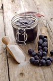 Freshly picked blueberries with a wooden spoon Royalty Free Stock Photo
