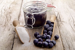 Freshly picked blueberries with a wooden spoon Stock Photo