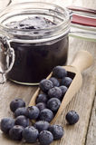 Freshly picked blueberries on a wooden spoon Royalty Free Stock Photo
