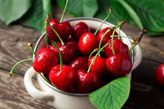 Freshly picked cherries in the bowl royalty free stock photography
