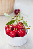 Freshly picked Cherries in a white Bowl Stock Photo