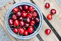 Freshly picked cherries Stock Photos