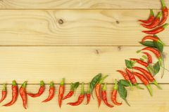 Freshly picked chili peppers on a wooden table. Preparation for the domestic processing of a crop. Stock Image