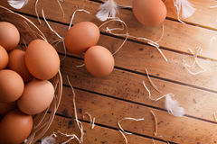 Freshly picked eggs in basket on wood table top view Royalty Free Stock Photo