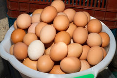 Freshly picked eggs in a bowl. A bowl full with fresh eggs displayed for sale at a local market Stock Photo