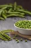 Freshly picked English peas Stock Photos