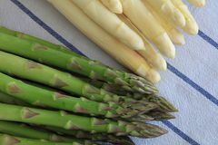 Freshly Picked green and white Asparagus Spears Royalty Free Stock Images