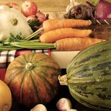 Freshly picked harvest of different autumn vegetables and fruit Stock Photo