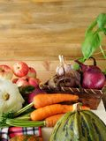 Freshly picked harvest of different autumn vegetables and fruit Royalty Free Stock Image