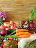 Freshly picked harvest of different autumn vegetables and fruit on a wooden background Stock Photo