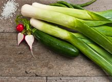 Close up of freshly picked vegetables. Freshly picked, organic, ripe, raw, washed, vegetables, green string beans, three leeks, radishes with one cut in half and Royalty Free Stock Photos