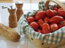 Freshly Picked Roma Tomatoes and Bread Stock Images