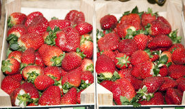 Freshly picked  strawberries on market stall ready for sale Royalty Free Stock Photos