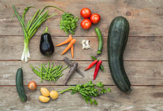 Freshly picked vegetables. Mixed ingredients to make a vegetable soup royalty free stock image