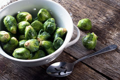 Freshly picked and washed Brussel sprouts. Fresh picked organic brussel sprouts washed in a colander Stock Photo