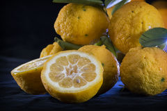 Freshly picked whole lemons and two halves on dark background Stock Photography