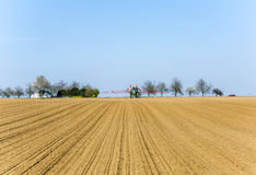 Freshly ploughed acre with row Royalty Free Stock Images