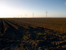 Freshly ploughed field with wind turbines at sunset Stock Image