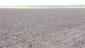 Freshly plowed black earth field day stock video