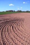 Freshly plowed field in spring Stock Photo