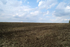 Freshly Plowed Field in Spring Ready Royalty Free Stock Photos