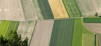 Freshly plowed and sowed farming land from above Royalty Free Stock Photos