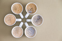 Freshly poured coffee in a circular design Stock Photos