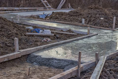 Freshly poured concrete slab Stock Images