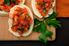Freshly Prepared Bruschetta Stock Photography