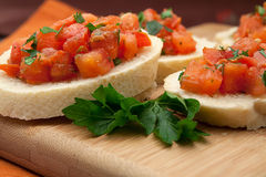 Freshly Prepared Bruschetta Royalty Free Stock Image