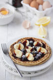 Freshly prepared crepes with banana Royalty Free Stock Image