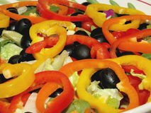 Freshly Prepared Garden Salad With Sliced Bell Peppers on Top Royalty Free Stock Photography
