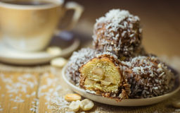Freshly prepared homemade cookies with peanuts, coconut and cocoa. Royalty Free Stock Image
