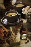 Freshly prepared italian espresso royalty free stock photo