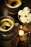 Freshly prepared italian espresso stock images