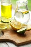 Freshly prepared lemon juice Royalty Free Stock Photos