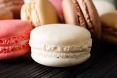 Freshly prepared macaroons, macro on the table Royalty Free Stock Photography