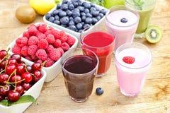 Freshly prepared organic drinks. And berryfruits Stock Photos