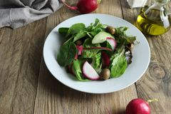 Freshly prepared salad made of greens, red radishes and green olives stock photo