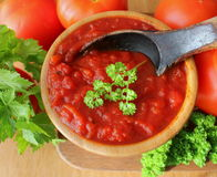 Freshly prepared sauce in bowl Stock Photography